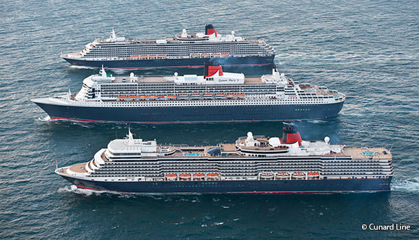 The three Queens inline in Southampton water