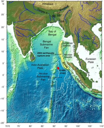 Sumatra - Map of eastern Indian Ocean. Red dots show drilling boreholes. Credit: Prof Lisa McNeill