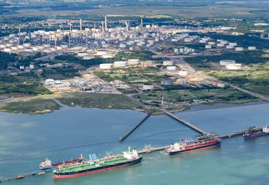 Fawley  Aerial shot of the refinery